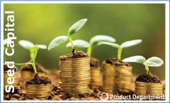 Afbeelding seed captial + opgestapelde geld munten +jonge plantjes