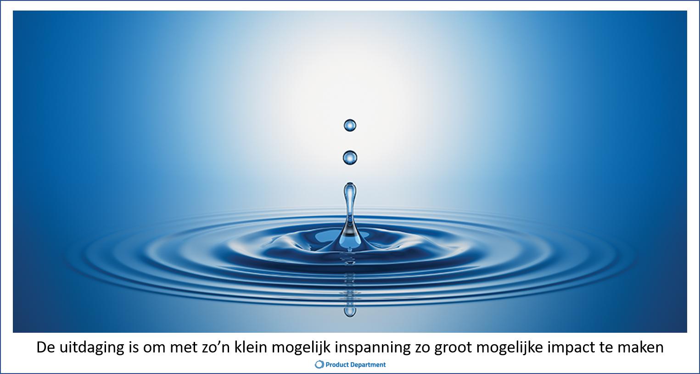 Afbeelding waterdruppel; en tekst kleine inspanning grote impact