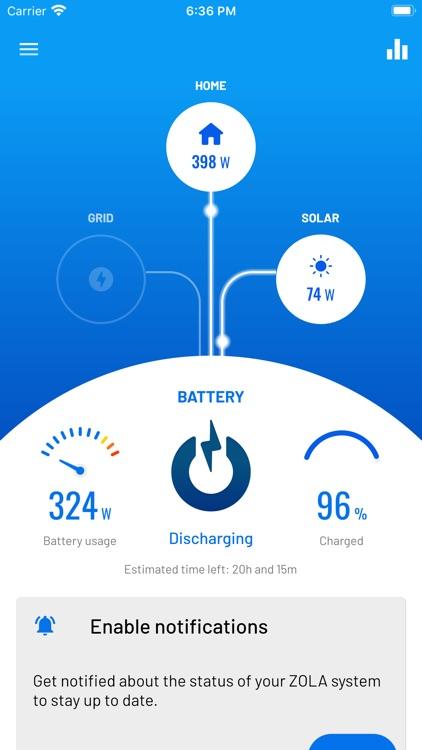 Screenshot  Zola Electric App om batterij gebruik te monitoren