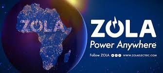 afbeelding wereldbol en afrika met tagline van Zola Electric Power Anywhere